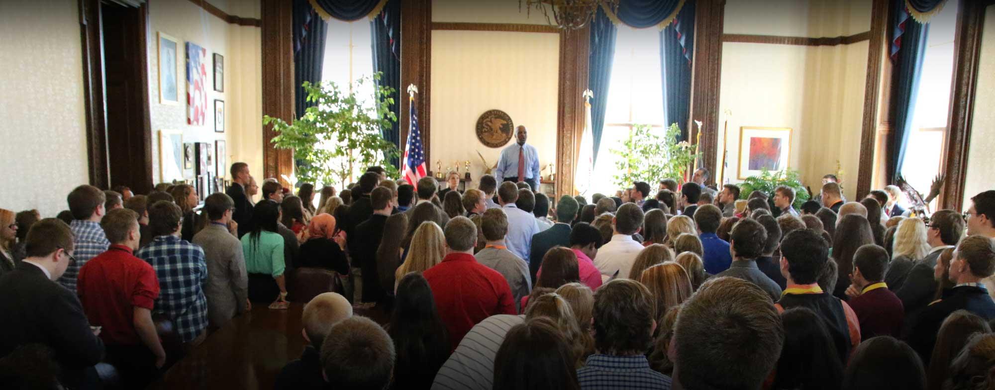 Illinois Secretary of State Jessie white addresses 2016 Youth To Washington Participants