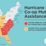 Coops in IA, IL, IN, OH, MO, KY, TN, AR, LA, MS, AL, FL are sending crews to VA, NC, SC, GA.