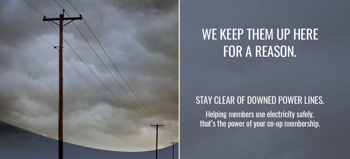 STAY CLEAR OF DOWNED POWER LINES. Helping members use electricity safely, that's the power of your co-op membership.